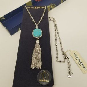 LUCKY TURQUOISE SILVER TASSEL NECKLACE NEW